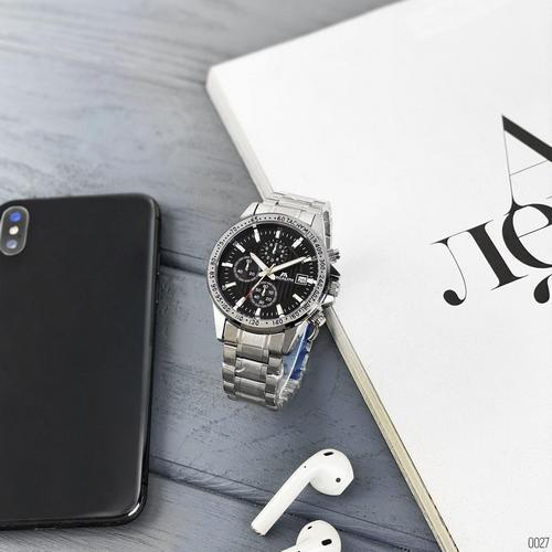 Посріблені чоловічі годинники Megalith 8033M Silver-Black кварцові