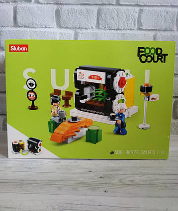 Конструктор SLUBAN аналог Лего Слубан кафе магазин подарок фаст-фут мороженое  суши-бар