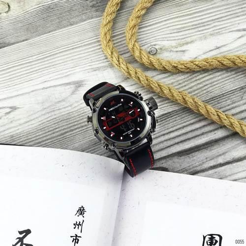 Часы наручные мужские Megalith 8051M Black-Dark Gray-Red