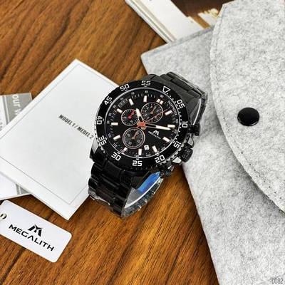 Кварцевый хронограф Megalith 8087M All Black мужские наручные часы