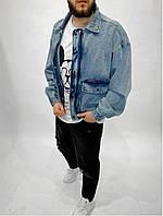 Мужская свободная синяя джинсовка, мужская джинсовая куртка с карманами синего цвета Турция