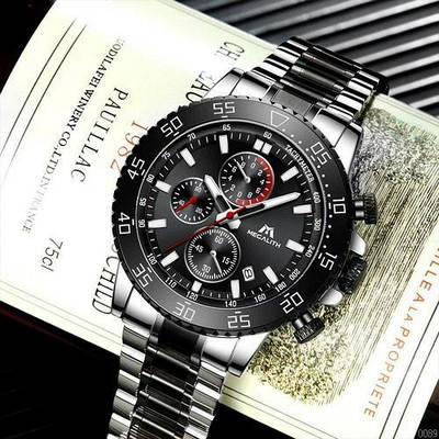 Наручные часы с хронографом Megalith 8087M Black-Silver мужские