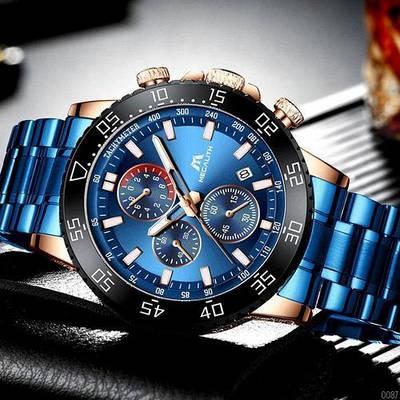 Стильные мужские наручные часы Megalith 8087M Blue-Cuprum