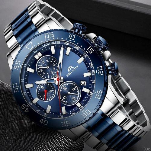 Часы наручные мужские Megalith 8087M Silver-Blue наручные