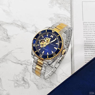 Красивые мужские наручные часы Megalith 8209M Silver-Gold-Blue механика