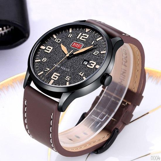 Годинник із цифрами Mini Focus MF0158G.01 Brown-Black чоловічий мінімалізм
