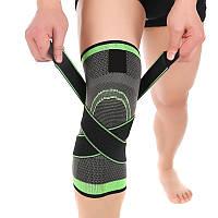 Фиксатор для коленного сустава чёрно - салатовый, компрессионный эластичный наколенник для спорта (TI)