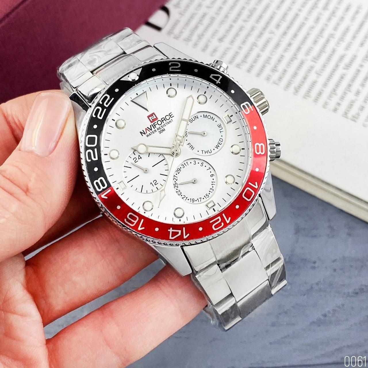 Часы наручные мужские Naviforce NF9147 Silver-White-Red