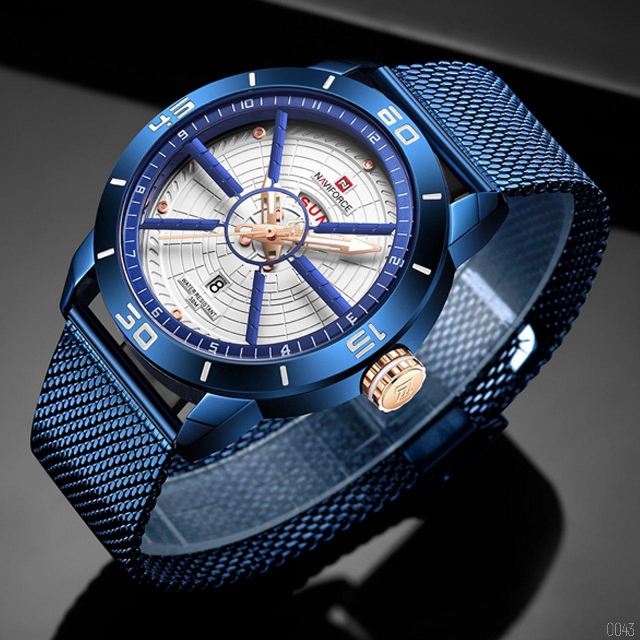Часы наручные мужские Naviforce NF9155 Blue-White