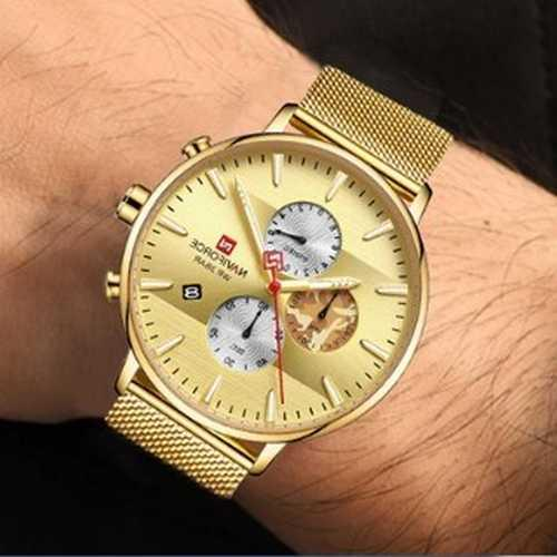 Золоті наручні годинники Naviforce NF9169 All Gold молодіжні