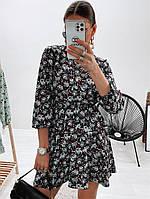 Модное женское платье приталенное в цветочный принт (Норма), фото 2