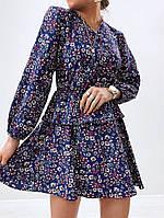 Модное женское платье приталенное в цветочный принт (Норма), фото 3