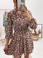 Модное женское платье приталенное в цветочный принт (Норма), фото 4