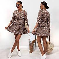 Модное женское платье приталенное в цветочный принт (Норма), фото 6