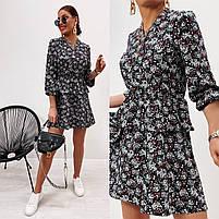 Модное женское платье приталенное в цветочный принт (Норма), фото 8