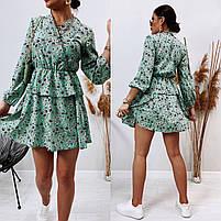 Модное женское платье приталенное в цветочный принт (Норма), фото 9