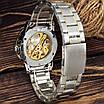 Стильні чоловічі годинник Winner 8012 Automatic Silver-Gold серебрная механіка, фото 2