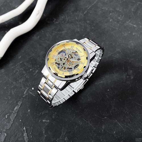 Стильні чоловічі годинник Winner 8012 Automatic Silver-Gold серебрная механіка