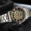 Стильні наручний годинник Winner 8012 Diamonds Automatic Silver-Black-Gold унісекс, фото 6