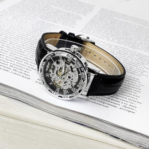 Наручний годинник Winner 8012C Diamonds Automatic Black-Silver унісекс