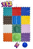 Ортопедический массажный коврик Ортодон Ассорти 12 элементов. Развивающие игровые пазлы. Без запаха