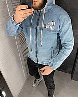 Мужская синяя джинсовка с капюшоном, мужская джинсовая куртка синего цвета с надписью Турция