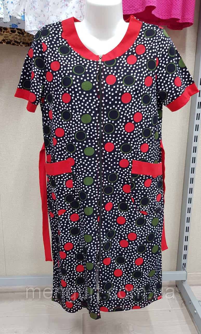 Женский  халат с коротким  рукавом 48-56 р