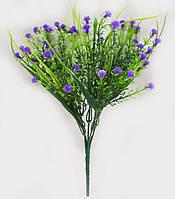 З фіолетовим мелкоцветом 30см штучний зелений кущ для букетів, фото 1