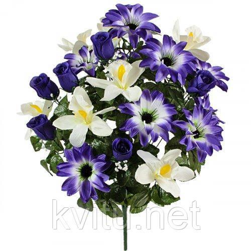 Искусственные цветы букет орхидея с бутонами роз  и крокусом, 59см