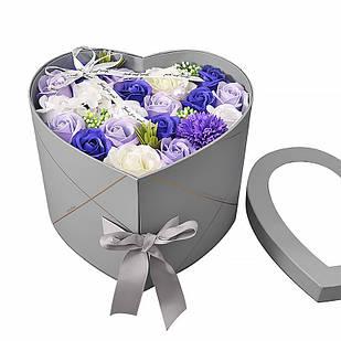 Подарочная коробка с цветами из мыла Lesko L-4645 Серый в форме сердца (6655-22820)