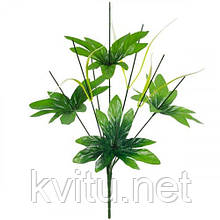 Нога букетная 8-ка с листом и светлой травкой, 43см