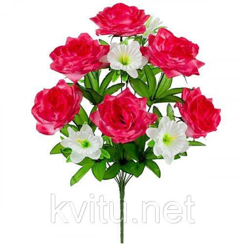 Искусственные цветы букет роз и колокольчиков, 48см