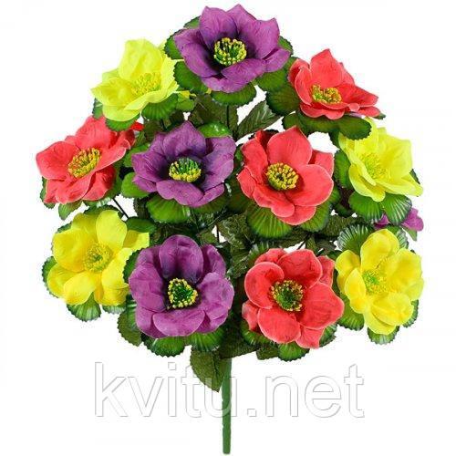 Искусственные цветы букет трехцветный лотос, 44см