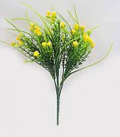 З жовтим мелкоцветом 30см штучний зелений кущ для букетів, фото 1
