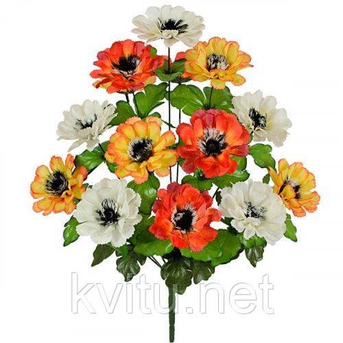 Искусственные цветы букет бархатцы трехцветные, 51см