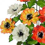 Искусственные цветы букет бархатцы трехцветные, 51см, фото 2