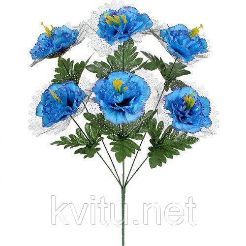Искусственные цветы букет гвоздик с темной вуалью, 53см