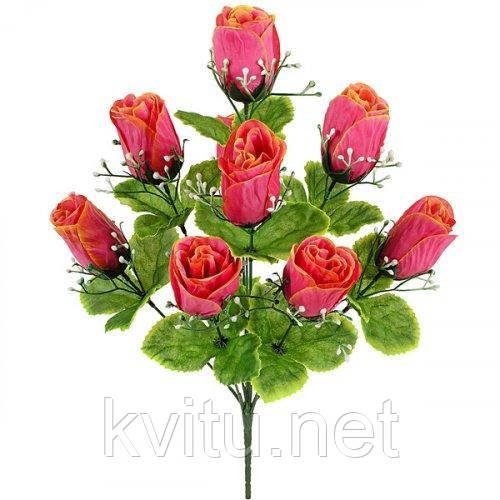 Искусственные цветы букет бутонов роз, 44см