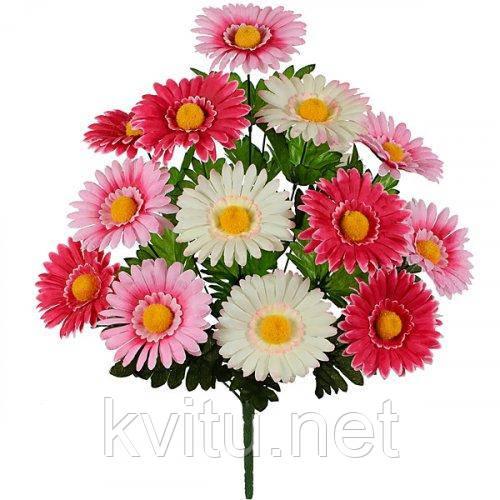 Искусственные цветы букет астры трехцветные, 50см