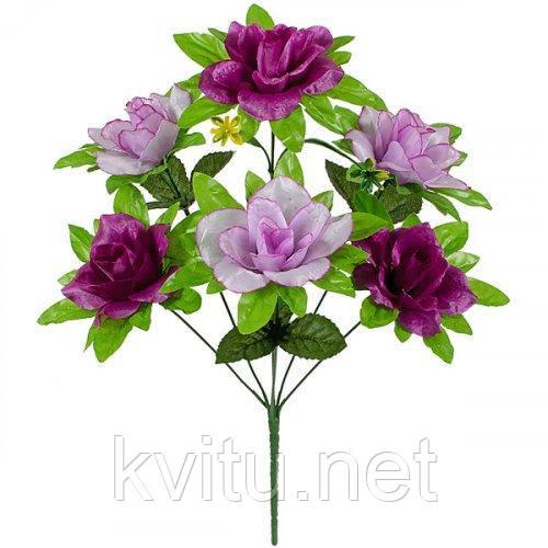 Искусственные цветы букет розы атласные с зеленой подложкой, 45см