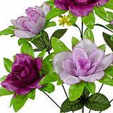Искусственные цветы букет розы атласные с зеленой подложкой, 45см, фото 2