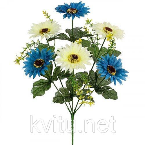 Искусственные цветы букет хризантем двухцветных, 36см