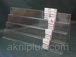 Акрилова гірка на три сходинки під пачки сигарет на вітрину магазину