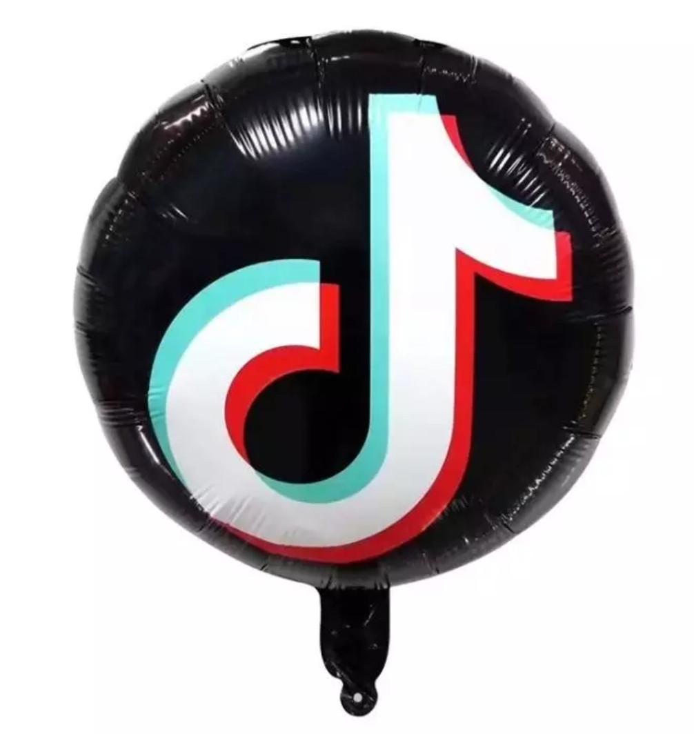 Фольгований повітряний круглий чорний куля тік ток 45 см