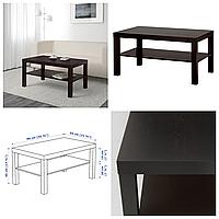 Журнальный столик IKEA LACK 90x55 см чёрно-коричневый прямоугольный кофейный стол ИКЕА ЛАКК