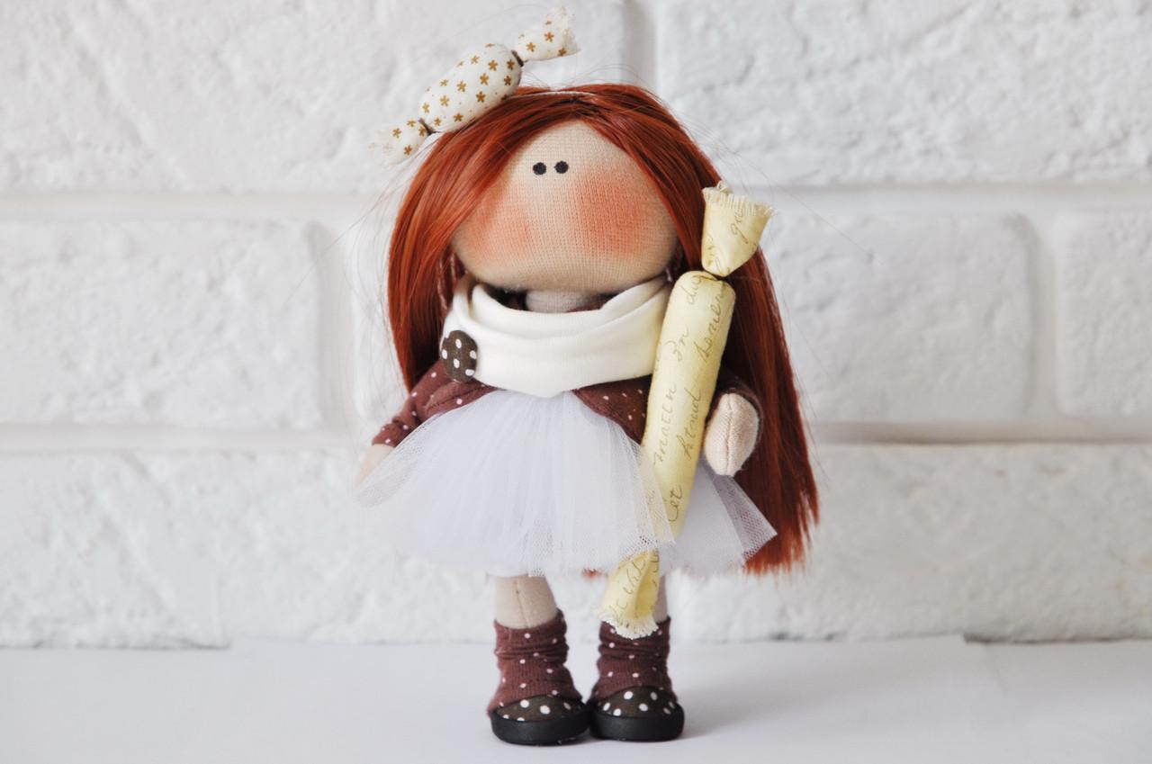 Кукла конфетка рыжая ручной работы, малышка 16 см