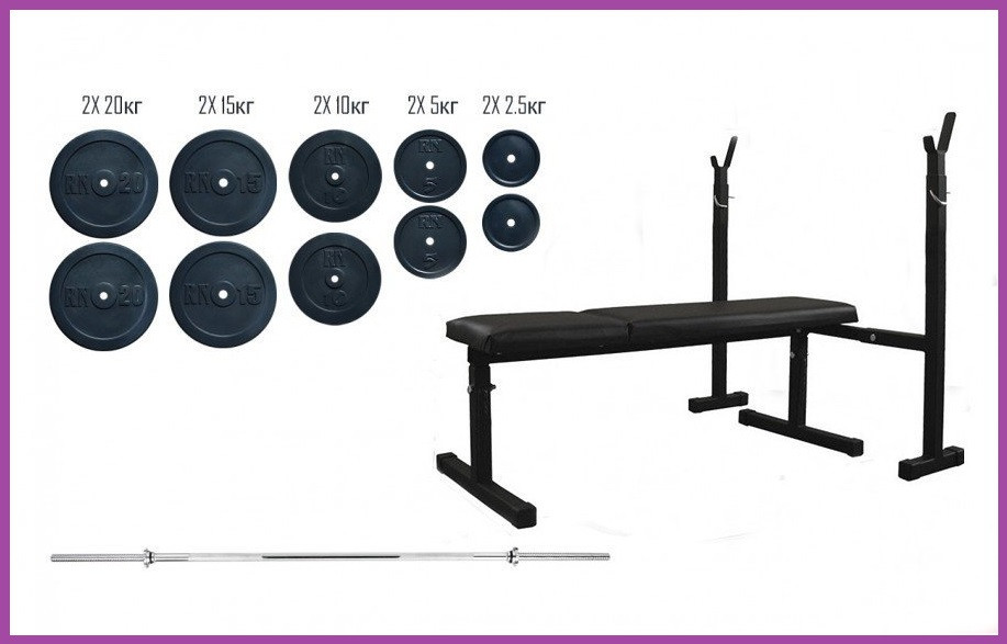 Силовой набор на 115 кг блинов + гриф, Гантели гири штанги, Многофункциональная скамья для жима складная