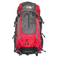 Рюкзак для путешествий туристический походный красный The North Face 60 литров с чехлом