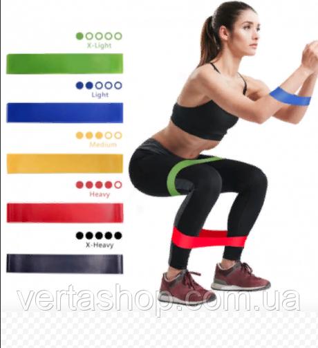 Фітнес гумки Fitness rubber bands (5 шт в комплекті) Набір стрічок-еспандерів гумок для фітнесу
