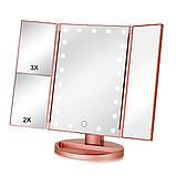 Потрійне дзеркало рожеве з віконницями Led miror, фото 4